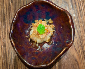 Young mangostean -Crispy krill/crispy shallot/coconut plum sugar