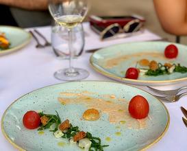 Raw catch of the day, tarama salata, 3 ways tomato, fisherman's peksimet, sea beans, samphire, celery oil