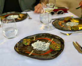 Mücver (Shrimp, Crete zucchini, red beet stems, spinach stems, nettle, corn, mint, dill, corn flour, organic egg caper&pickled beet leaf remoulade, tempura samphire, red bell pepper sauce