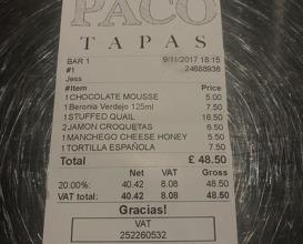 Meal at Paco Tapas