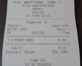 Meal at The Neptune Inn