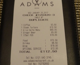 Meal at Adams