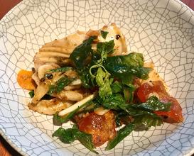 ปลาหมีกผัดไข่เคมกับหน่อกระวาน  pla muek pad kai khem  charred squid with salted egg and cardamom shoot