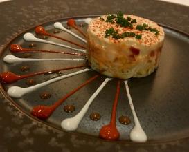 King Crab Tiramisu Marinaded Tandoori Fruits, Mascarpone Cream