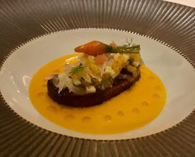 Seared Foie Gras Citrus Mosaic, Fondant Carrot