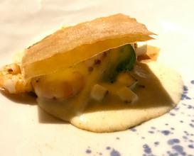 """""""SU BOREGI"""" with grilled shrimp, shrimp dough, collard, shrimp cream and dust"""