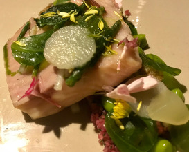 Smoked TROUT, turnip fermented bulgur and crab salad, pickled apples, purslane