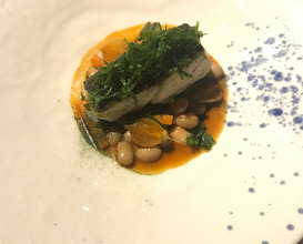 Grilled BLACK BASS, borlotti beans pilaki, fennel fronds, coriander powder and oil