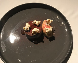 FRIGO tea smoked frozen ganache bar, pop corn ice cream, raspberry powder