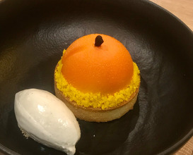 THE APRICOT IS ALWAYS SWEETER ON THE OTHER SIDE Tartelette filled with almon cream, apricote compote, white chocolate ganache, soft apricote core, rosemary ice-cream