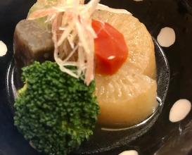 煮物 鯛とインゲンのつみれ、蒟蒻、ブロッコリー、人参、大根、茗荷 NI-MONO (Japanese style stew)