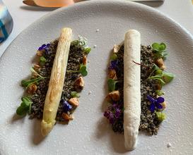 Asparagus ice cream with grilled asparagus