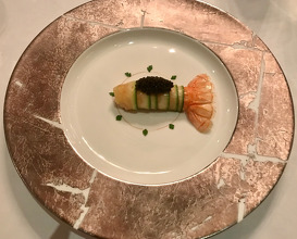 La Langoustine De Loctudy langoustine from loctudy with courgette & emulsion of extra virgin olive oil from provence