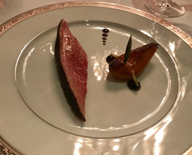 Le Canard De Challans Au Poires roasted challans duck breast from vendée served with pear & jus gras