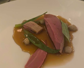 """DRUNKEN PIGEON"" WITH GIROLLE MUSHROOMS AND SORREL"