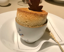 ODE TO CHESTNUT Chestnut Sago Soufflé with Pu'er Ice Cream