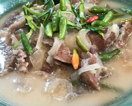 Coconut curry soup with dry aged beef
