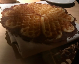 BBQed waffle with cloudberry cream