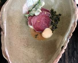 Springbok tataki, miso cream, tempura marog