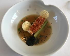 LANGOUSTINE 'GUILVINEC fennel . 'old bruges' cheese · saké