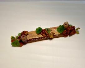 Pressed foie gras quince, walnut, smoked duck