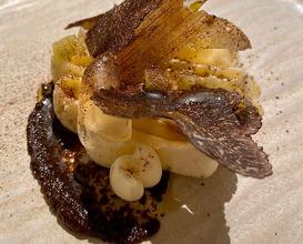 Burnt leek, home made ricotta, honey jelly, crispy leek, leek oil & truffle