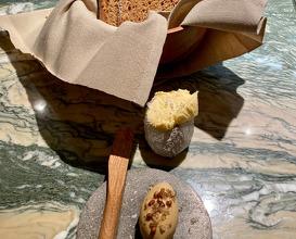 Sour dough bread, Cep butter with chicken salt Sea salt butter