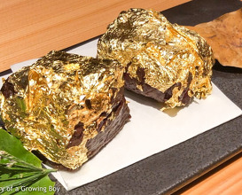 Beef with gold foil at Haku