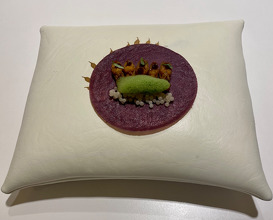 """TACO-CREPE"" OF PURPLE CORN WITH CRUNCHY DUCK TONGUES, CUCUMBER & ""GUISANTE LAGRIMA"" IN THE WOK."