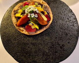Sea urchin, Black Bean and Clementine.