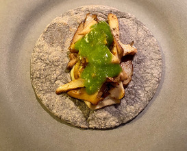 Seasonal mushrooms Quesadilla, Broad Beans and Roasted Green Tomatillo.