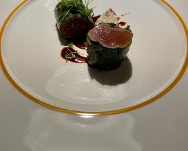 REHL Three variations of venison, Umeboshi, lovage, black walnuts and Waldorf salad