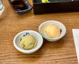 Homemade ice cream from matcha and citrus fruits