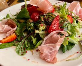 Elena balkan prosciutto with strawberries salad