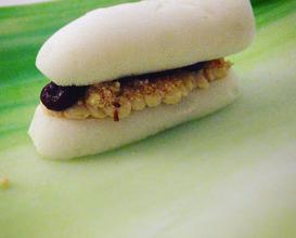 Sandwich: Foiegras mousse, onion water baguette, onion chutney and hazelnut candy