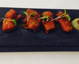 Portuguese connection: Joselito iberico pork belly stir fried with vindaloo curry and crushed garlic