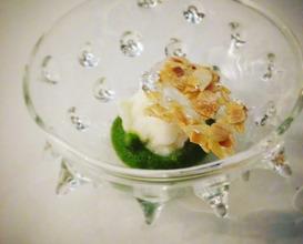 Poor man's porridge: Jasmine rice ice cream, pistacio gel, rose room freshener, almond and flower glass
