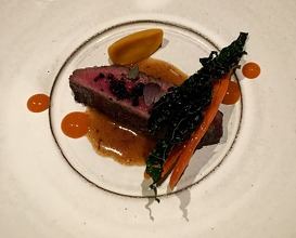 """Swedish beef with fermented pumpkin, rowanberry capers & carrot """"hot sauce"""""""