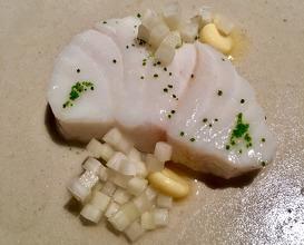 Cod steamed with spruce needles, fermented Jerusalem artichoke