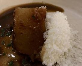 Pot roast turnip, glass house herbs, aged Parmesan