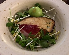 Duck egg 62 Degrees 'Textures' of peas. BBC2 Great British Menu winning dish 10-10-10 score