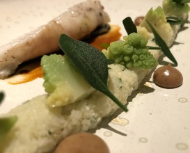 Monkfish, cauliflower, cous cous, bisque, sea purslane