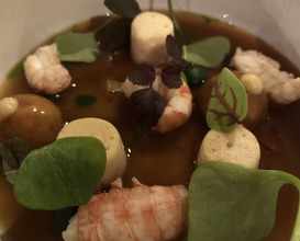 Crayfish and pike mousseline with candied lemon, crayfish heads broth infused with sweet woodruff