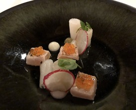 Trout fillet from Savoie, marinated then grilled, reduced radish