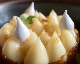 Kabosu lemon cream, cashew nut shortbread & honey from Chateau de Pregny