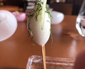 Oyster lollipop and green apple mousse