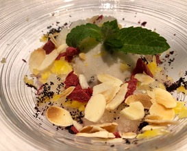 """Chestnut frost. Chestnut ice cream """"sauced"""" with açai granita and fruits"""