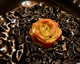 Squid as a risotto, butter flower