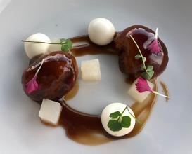 "Iberian pork ""castañeta"", idiazabal cheese bonbon and Nabarniz turnip"