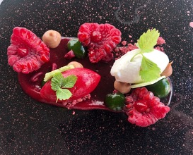 Red fruits and basil